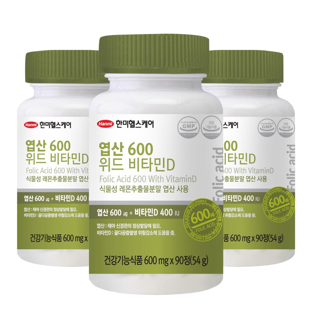 한미헬스케어 엽산 600 위드 비타민D, 3개입, 54g