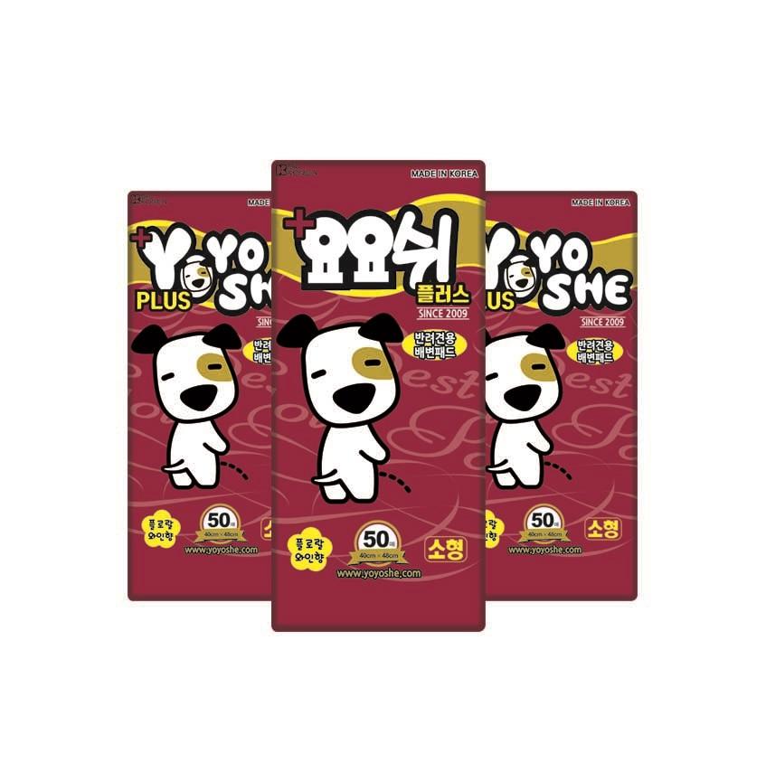 요요쉬 플러스 배변패드 플로랄와인향 50매, 3개