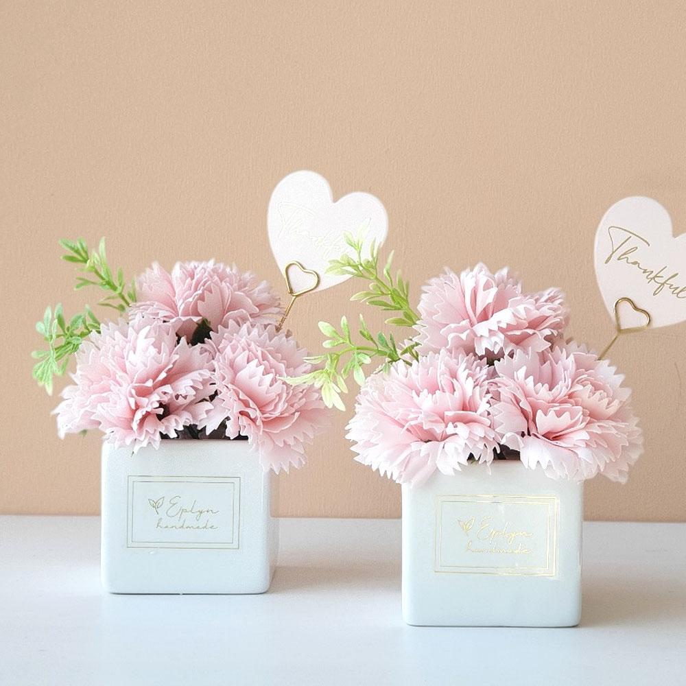 이플린 카네이션 비누꽃 큐티 화분 + 선물상자 + 하트카드 + 골드 픽, 핑크, 2개
