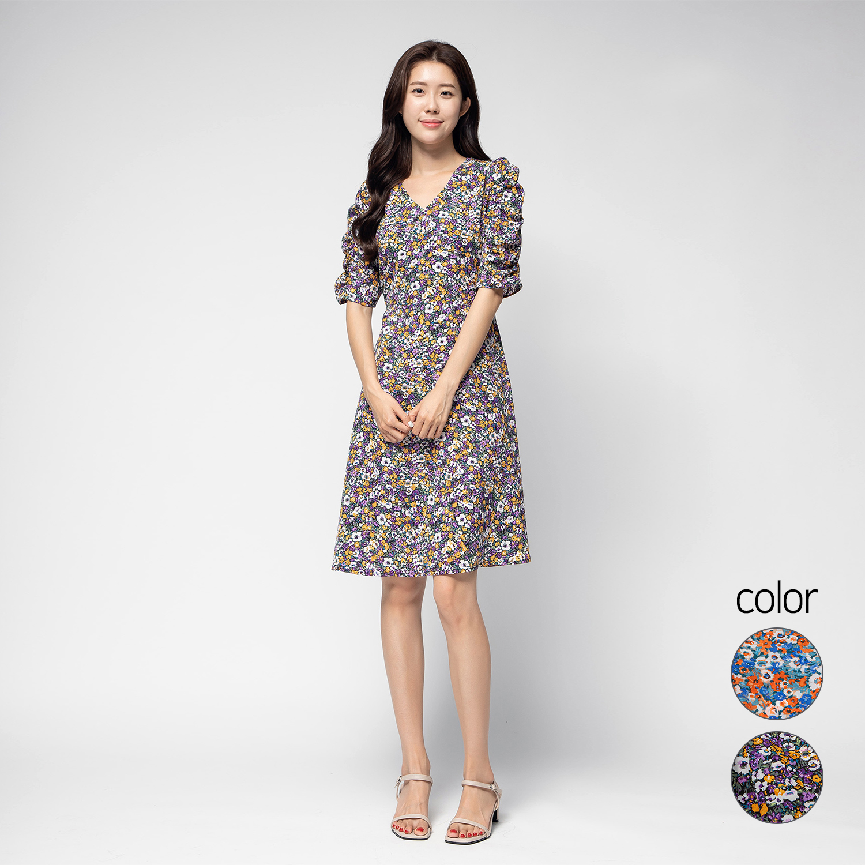 캐럿 여성 플로랄 셔링 슬리브 미디 드레스