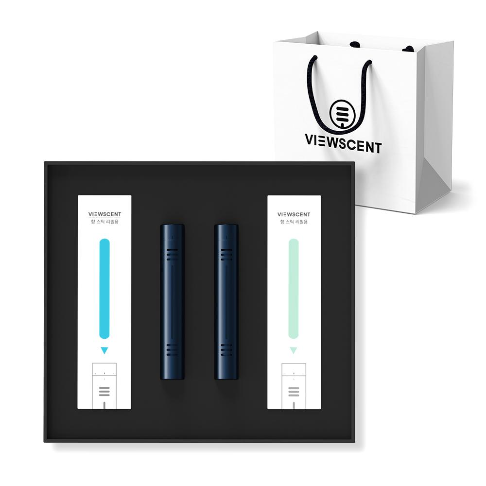 뷰센트 차량용 방향제 2종 세트 + 쇼핑백, 블루 쿨프레시, 1세트