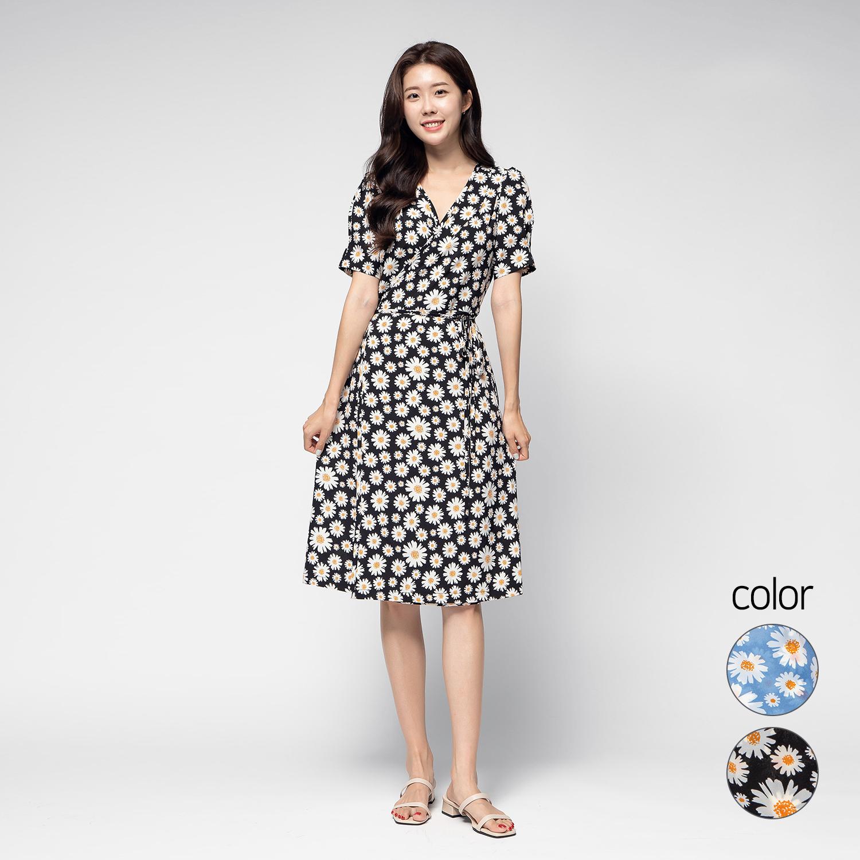캐럿 여성 여름 미디 랩 드레스