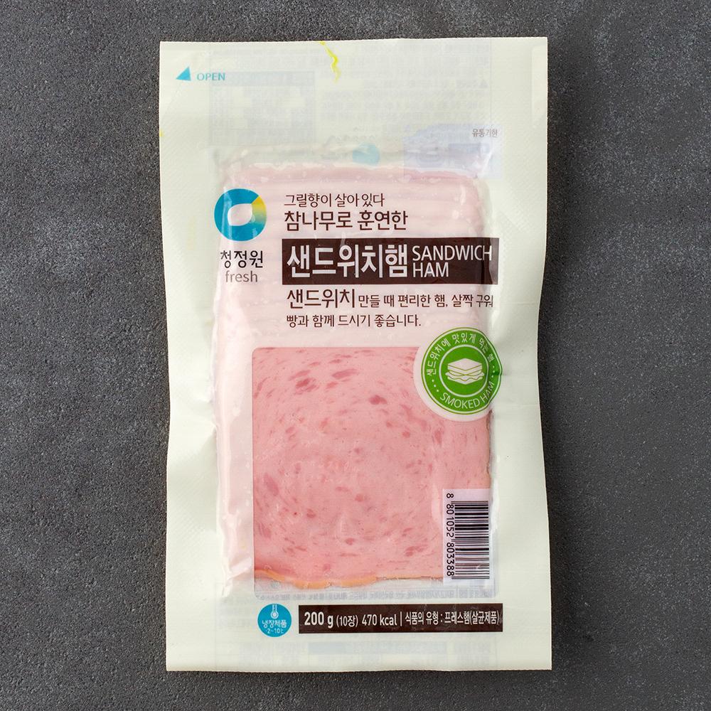 [슬라이스] 청정원 참나무 훈연 샌드위치햄, 200g, 1개 - 랭킹2위 (3880원)