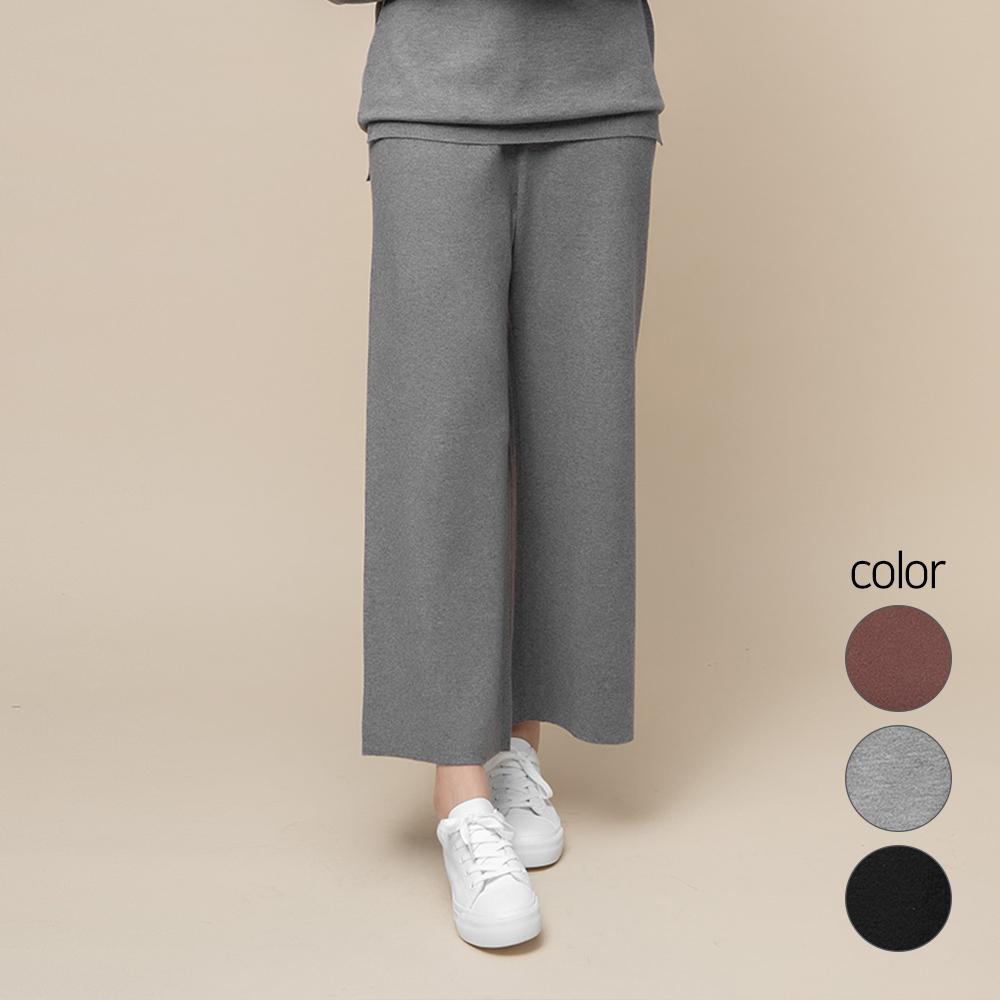 캐럿 여성용 니트 스웨터 와이드 밴딩 팬츠