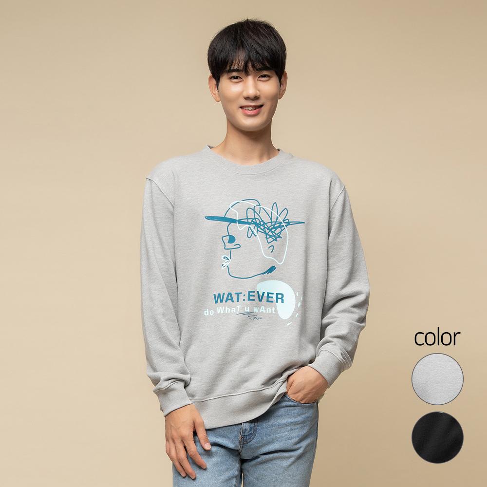 캐럿 남녀공용 릴렉스핏 그래픽 맨투맨 티셔츠 MJ07AA
