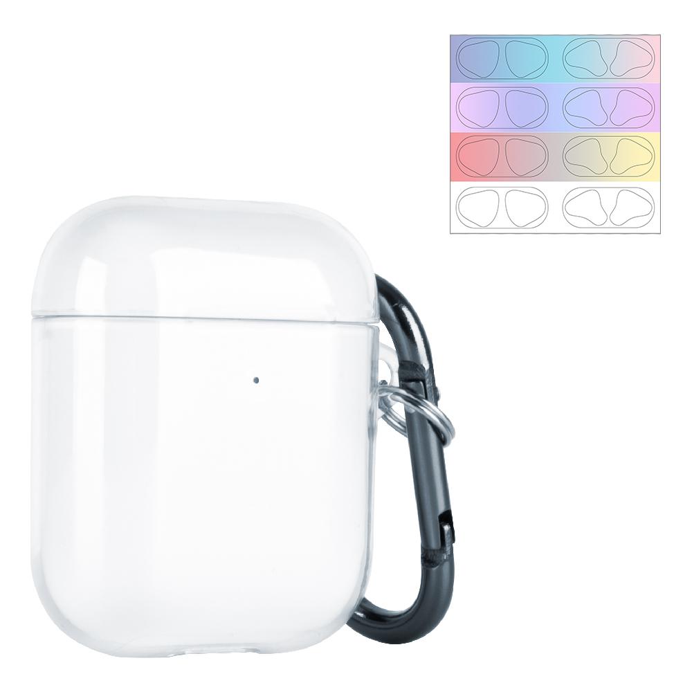 누아트 에어팟 1 2세대 투명 케이스+ 디자인 에어팟 철가루 방지 스티커, 단일 상품, 그라데이션