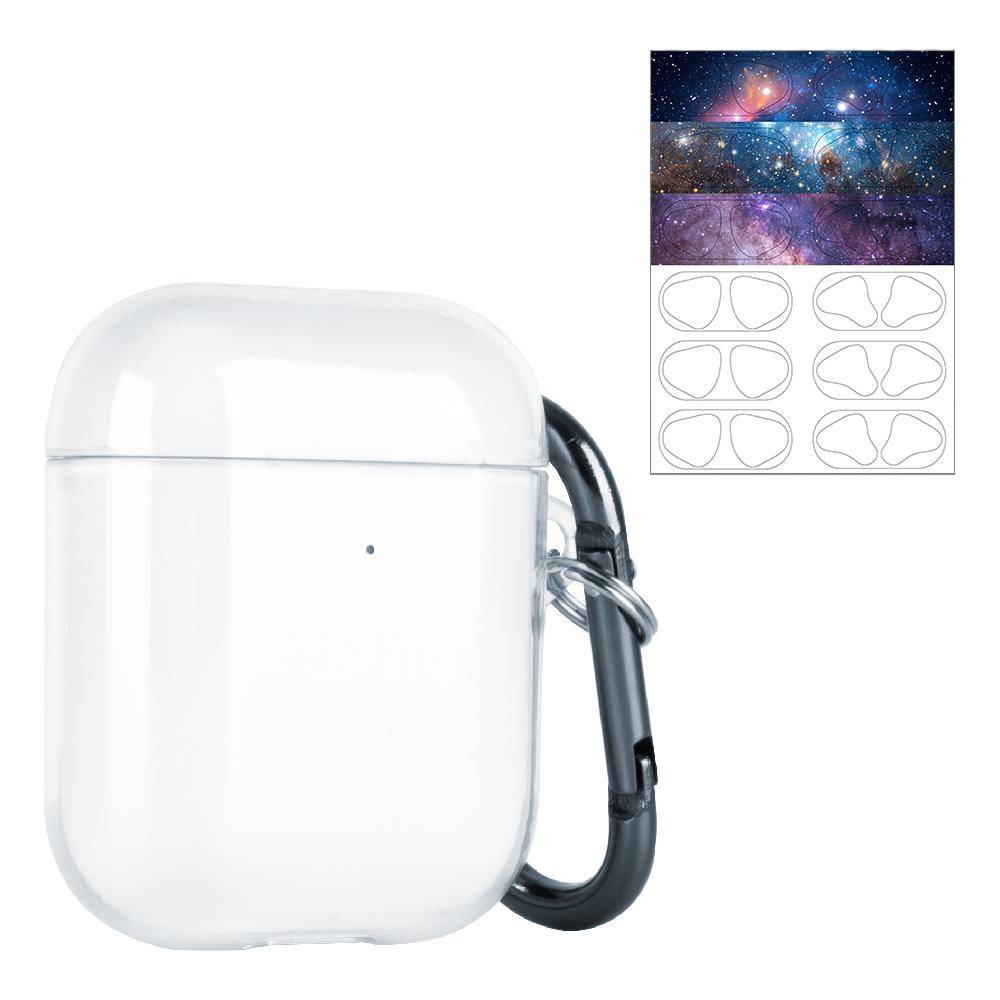 누아트 에어팟 1 2세대 투명 케이스+ 디자인 에어팟 철가루 방지 스티커, 단일 상품, 밤하늘