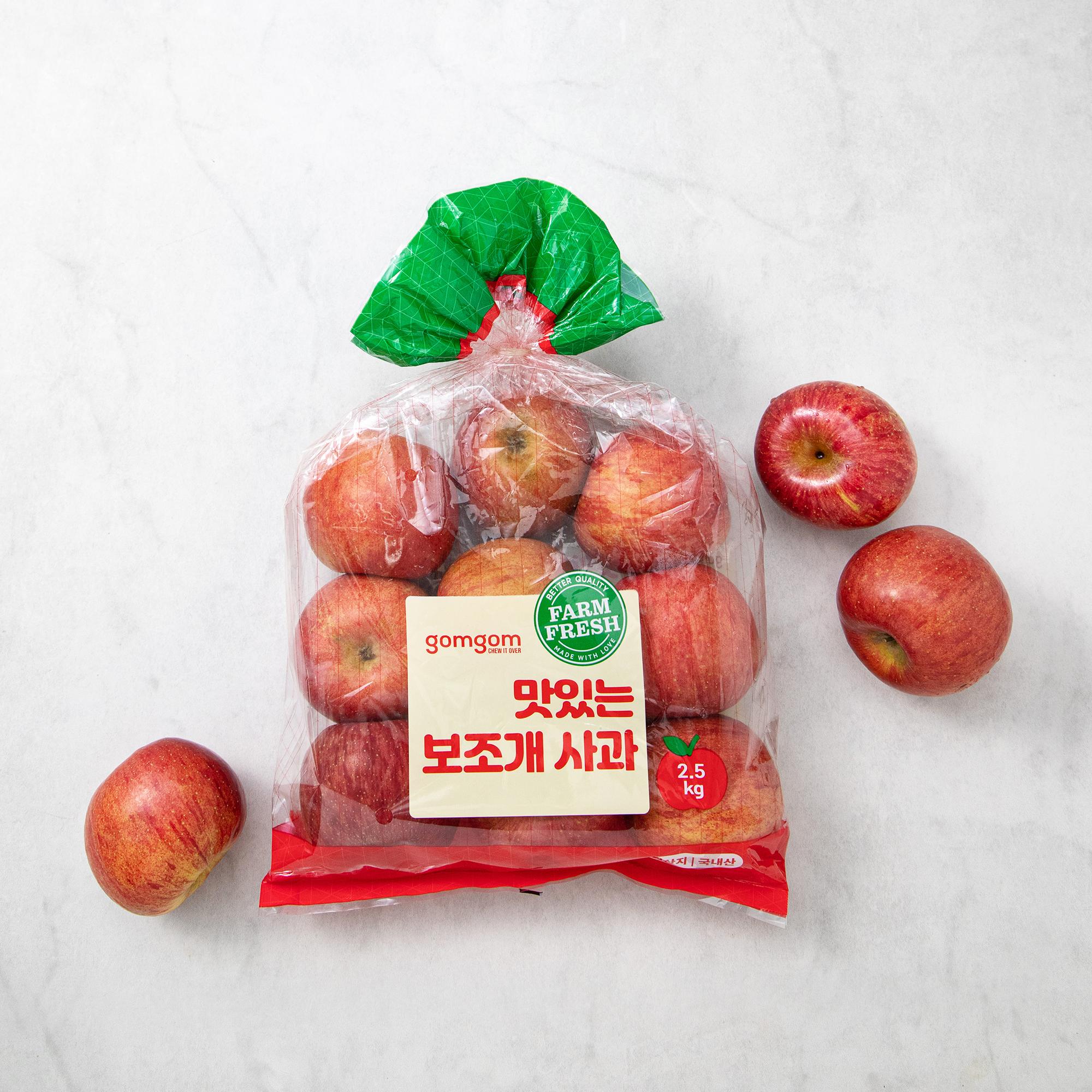 곰곰 맛있는 알뜰 보조개사과, 2.5kg, 1봉