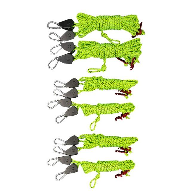 엠에스캠핑 타프용 고강도 스트링 로프 라쳇 메인용 2p + 사이드용 4p + 파우치 풀세트, 형광색