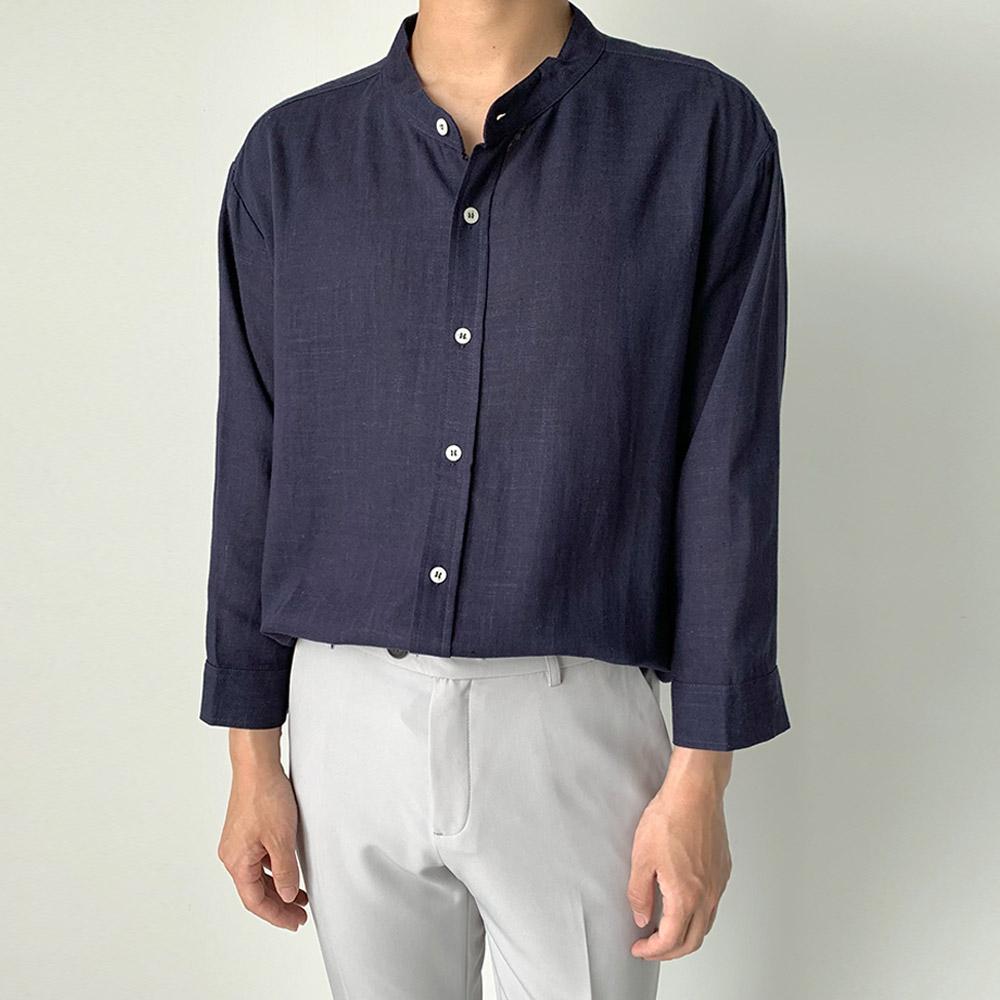 제이에이치스타일 남녀공용 차이나 린넨 7부 셔츠