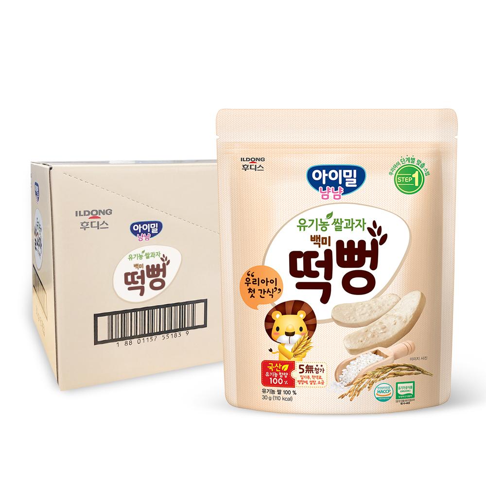 일동후디스 아이밀냠냠 유기농 쌀과자 떡뻥, 백미, 6개