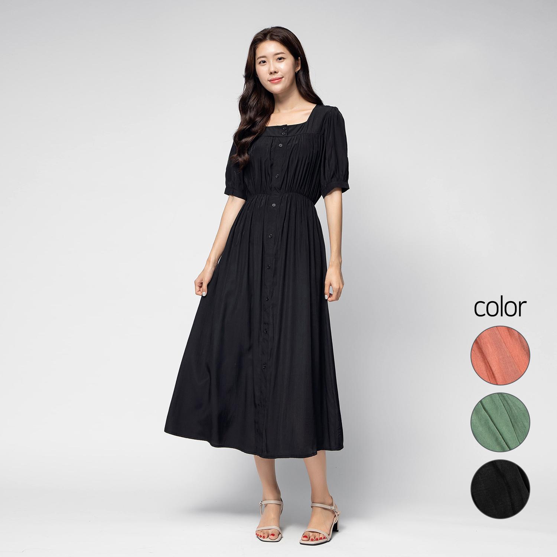 캐럿 여성 프런트 버튼 셔링 드레스