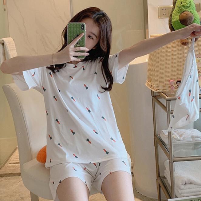 세컨핑크 여성용 반팔 투피스 잠옷 + 주머니 세트