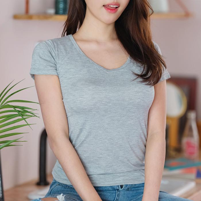 아이앤비 여성용 모달 브라탑 반팔 티셔츠