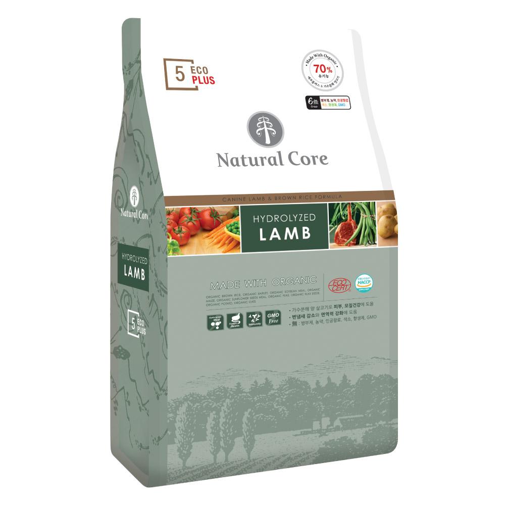 네츄럴코어 2개월~전연령 양고기 에코플러스5 유기농 6Free 가수분해 반려견 사료, 7kg, 1개