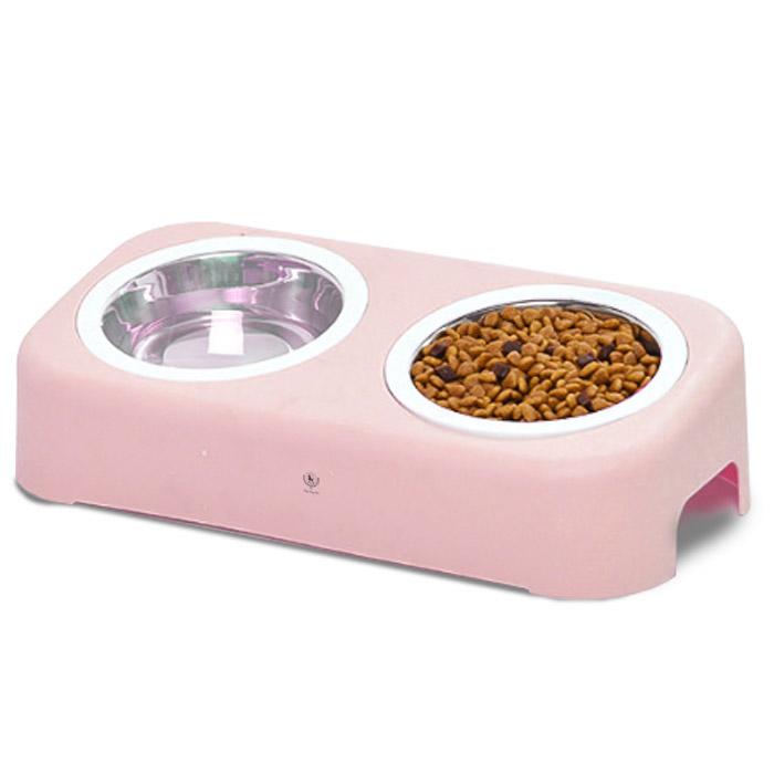 딩동펫 반려동물 파스텔 더블식기, 핑크, 1세트
