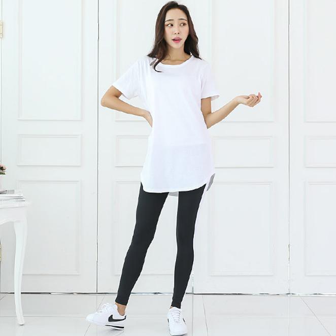토마토팩토리 여성용 레이어드 롱 반팔 티셔츠
