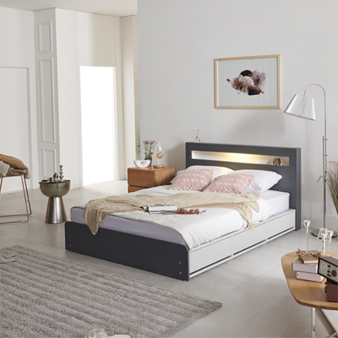 크렌시아 오로라2 LED 멀티수납 침대 + 독립 매트리스 CL40T 그레이 화이트 방문설치