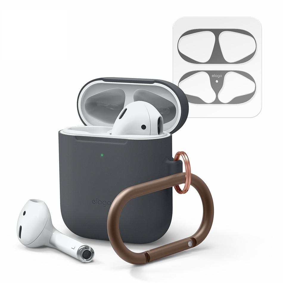 엘라고 스키니 행 에어팟 1 / 2 세대 유선 충전 모델 케이스 + 철가루 방지 스티커 + 고리 세트, 단일상품, 케이스(다크그레이), 철가루방지스티커(무광 스페이스그레이)