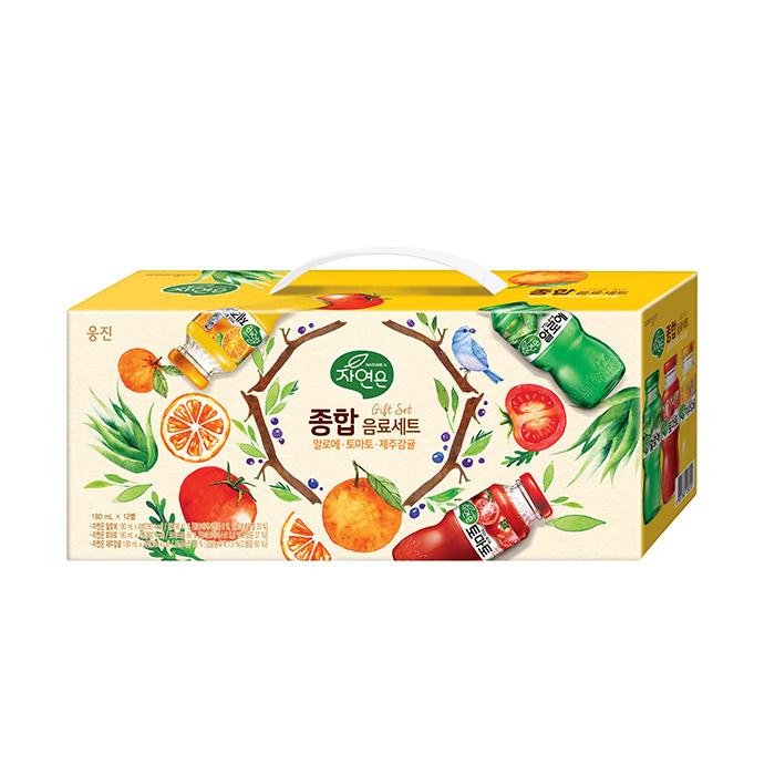 자연은 종합음료세트 알로에 + 토마토 + 제주감귤, 180ml, 12개