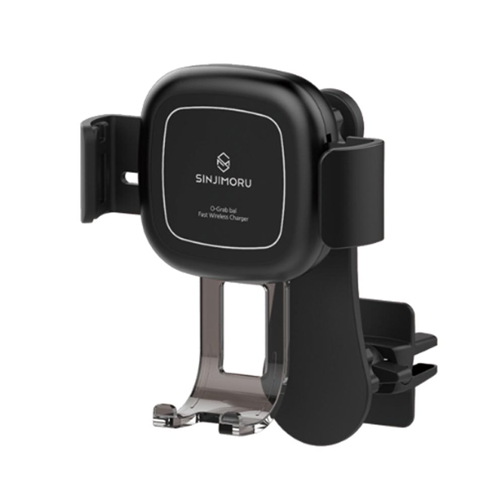 신지모루 FOD 센서 차량용 스마트폰 고속 무선 충전 거치대 SOG_BAL, 1개, 블랙