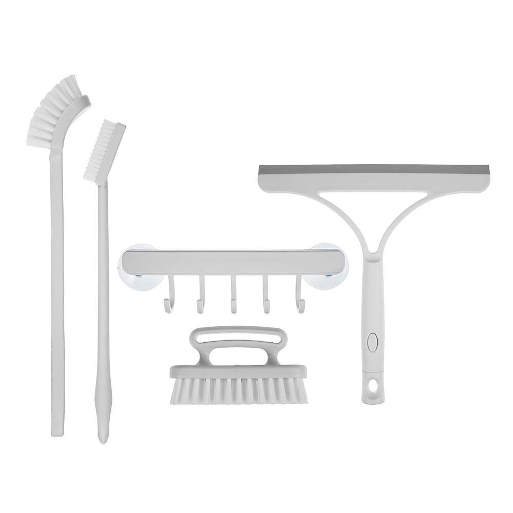 코멧 욕실 청소용 브러쉬 세트 다용도 걸이 + 손잡이 세척솔 + 사각 바닥솔 + 유리 닦이 틈새솔+ 롱틈새솔