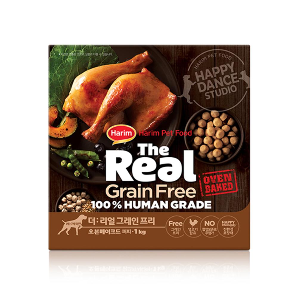 하림펫푸드 더리얼 그레인프리 오븐베이크드 퍼피 강아지사료, 닭, 1kg