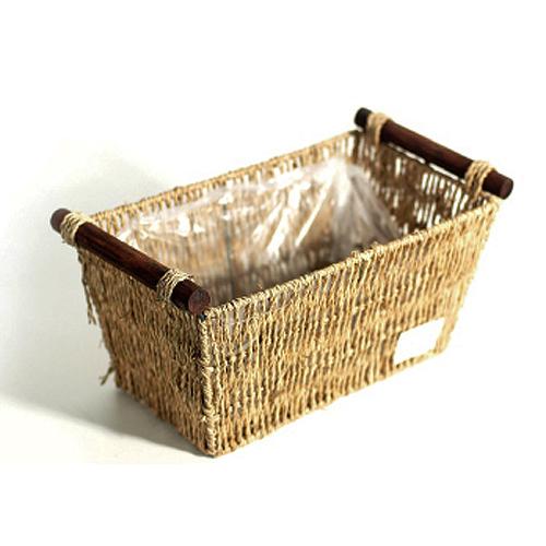 도시정원 라탄 왕골 직사각 원목 손잡이 바구니 대, 단일색상, 1개