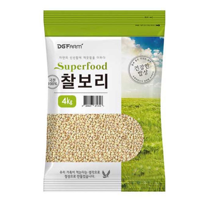 대구농산 2020년 햇곡 건강한밥상 국산 찰보리쌀, 4kg, 1개