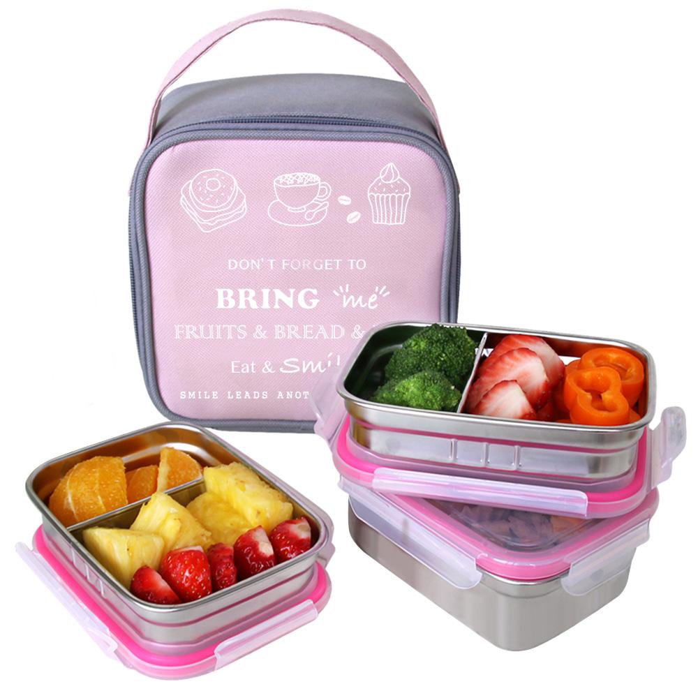 브링미 스텐 3단 도시락 세트 430ml 도시락 + 290ml 칸막이도시락 2p + 가방, 핑크, 1세트