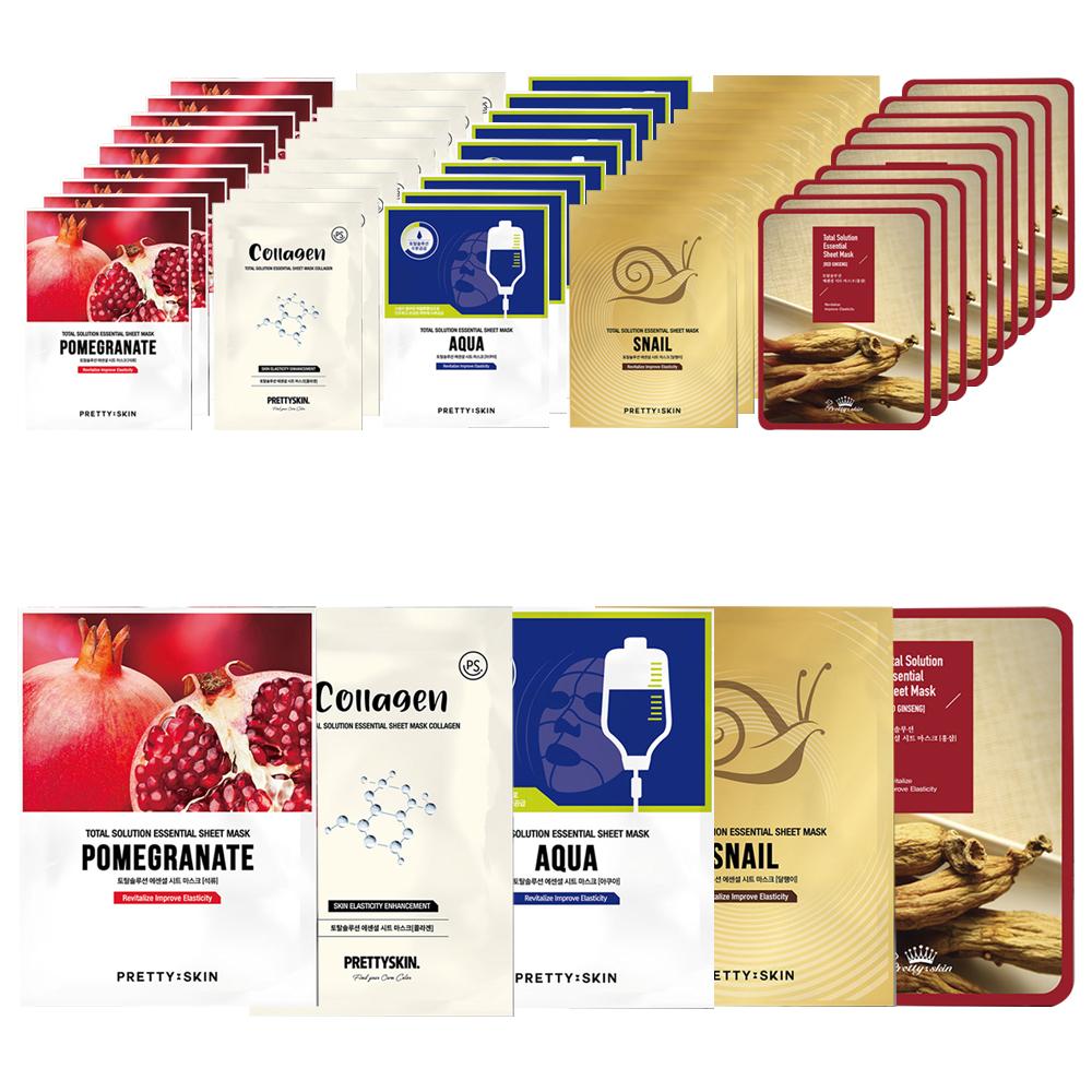 프리티스킨 토탈 솔루션 에센셜 시트 마스크팩 23g x 5종, 10세트