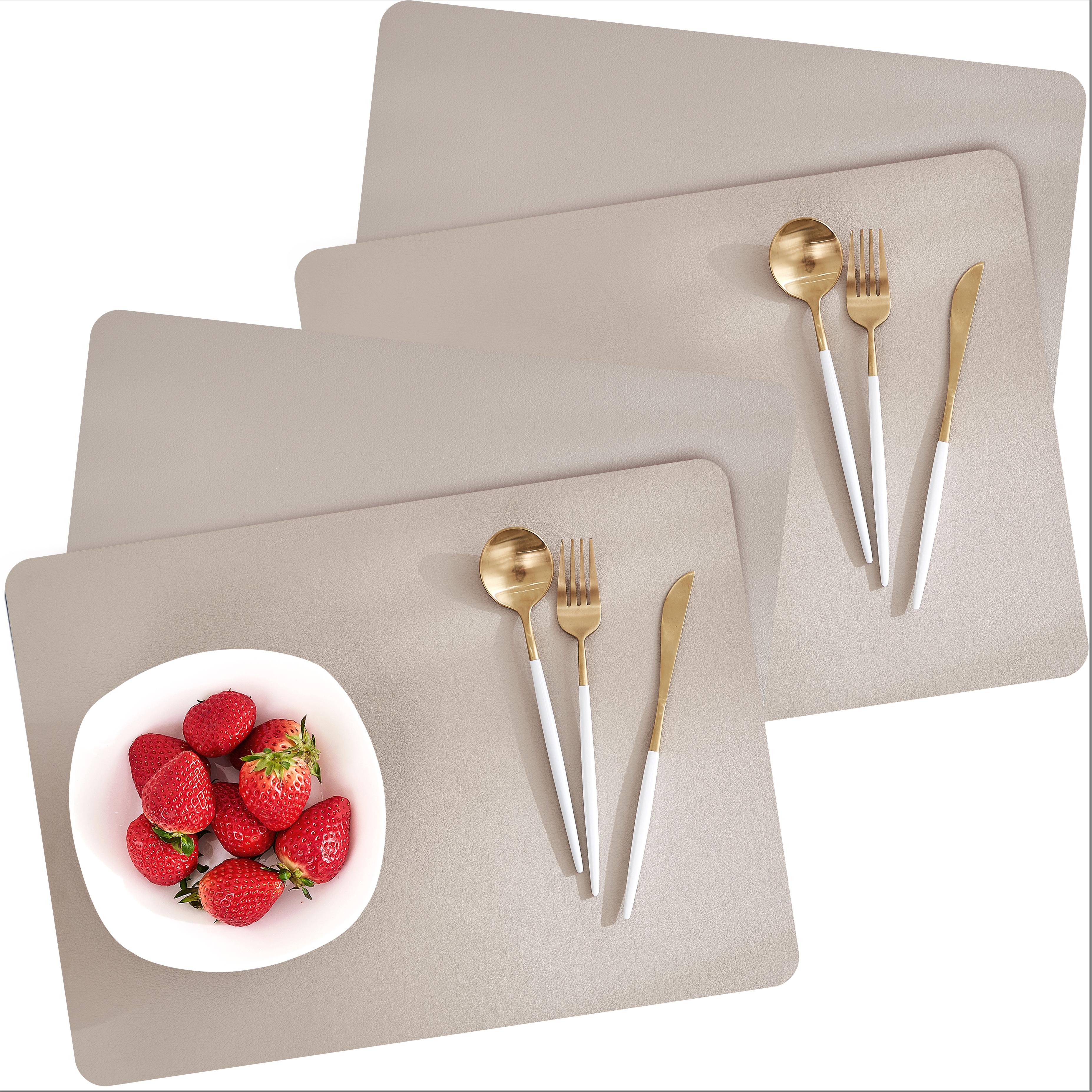 모던감 북유럽 방수 가죽질감 식탁매트 4p, 베이지, 45 x 33 cm