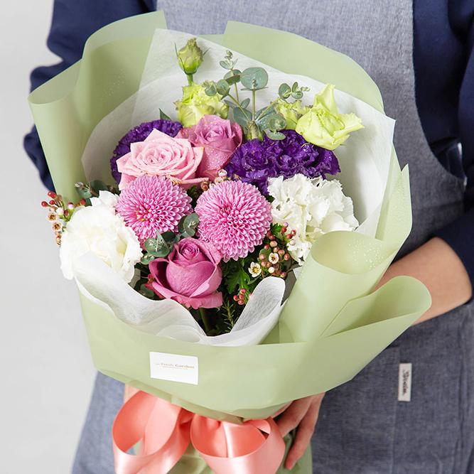 프레시가든 생화 로맨틱 꽃다발 S, 올리브그린