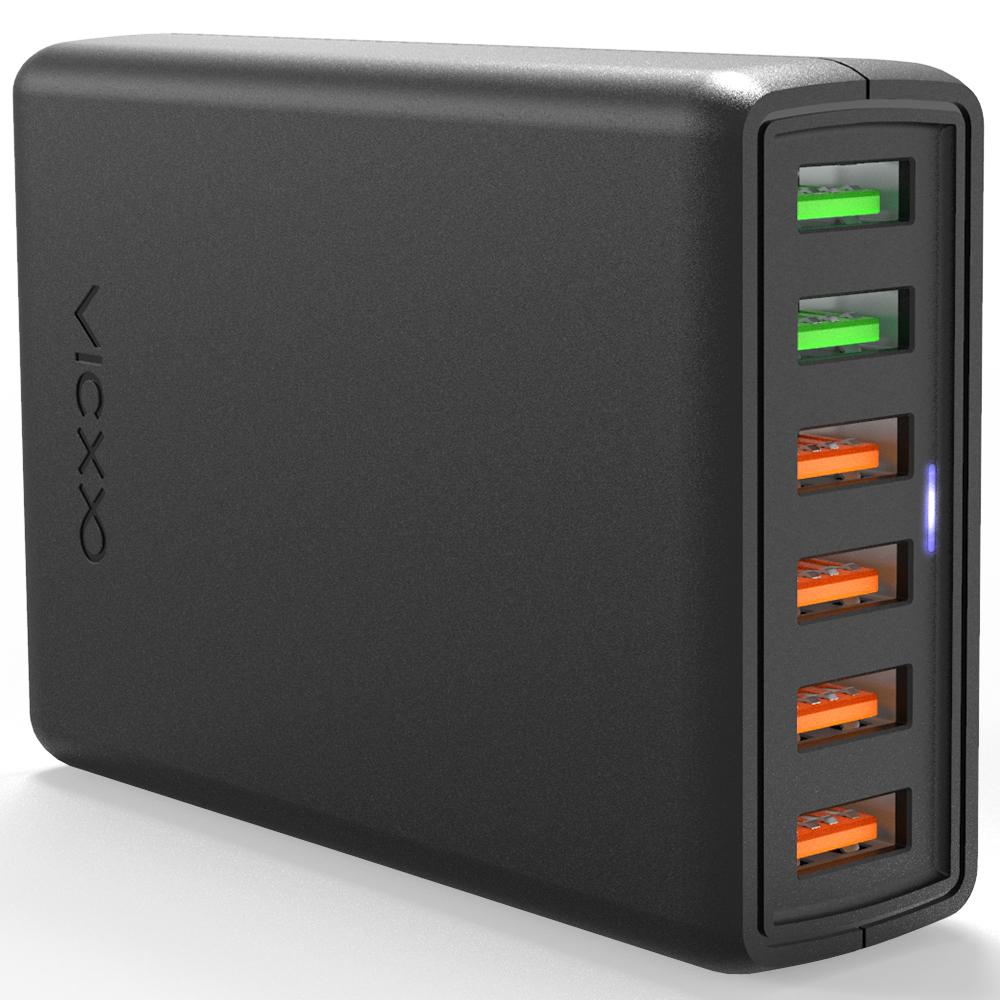 빅쏘 6포트 퀄컴 퀵차지 3.0 USB 고속 멀티 충전기 MAKAN-M2, 블랙, 1개