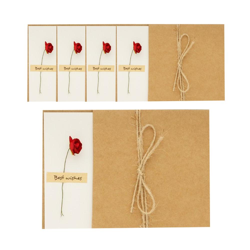 도나앤데코 클로이 편지지 + 크라프트 봉투 + 레드 미니장미 꽃데코, 5세트