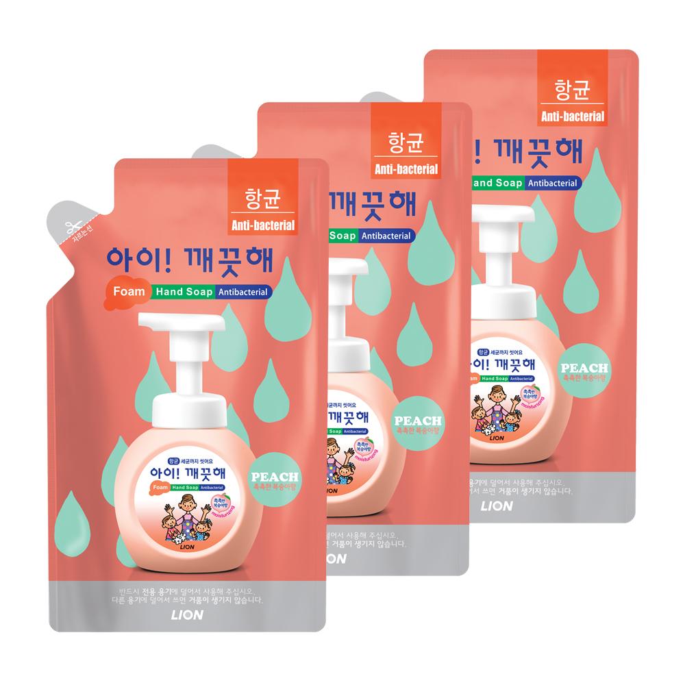 아이깨끗해 향균 거품 핸드 솝리필 모이스처라이징 복숭아향, 200ml, 3개