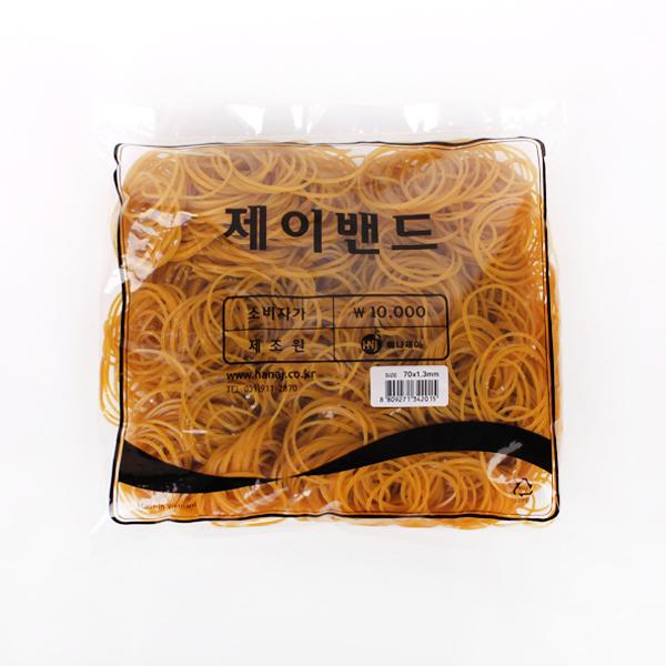 제이밴드 10000 고무밴드 70 x 1.3 mm, 노란색, 1개