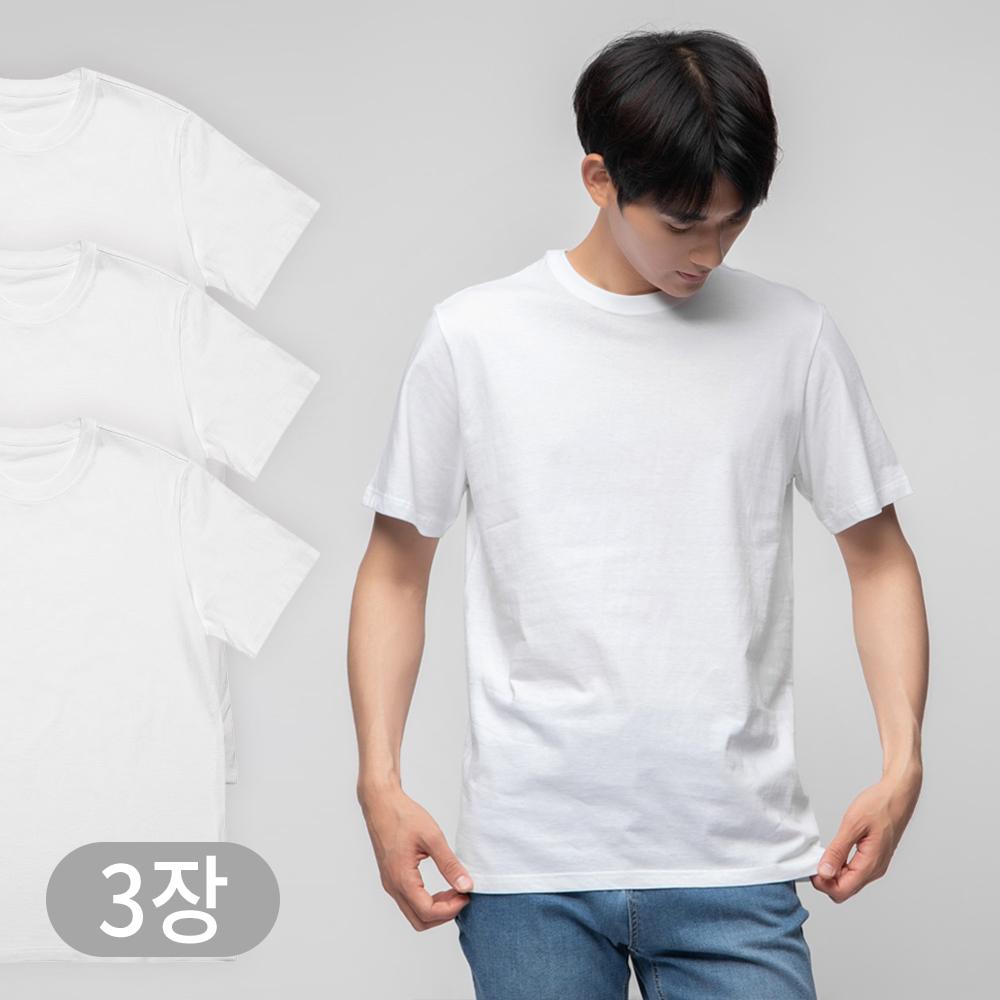 쿠팡 브랜드 - 베이스알파 에센셜 남녀공용 30수 라운드 반팔티 화이트 3p