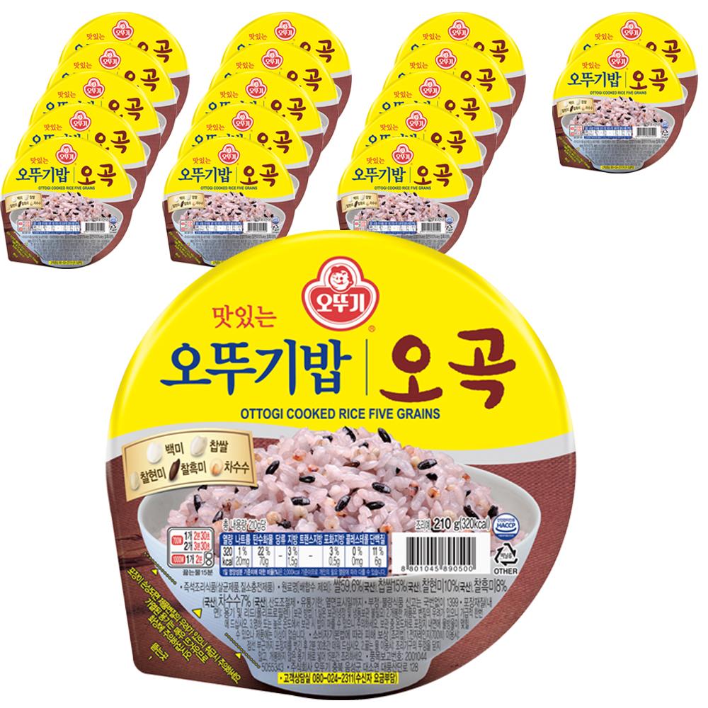 맛있는 오뚜기밥 오곡, 210g, 18개