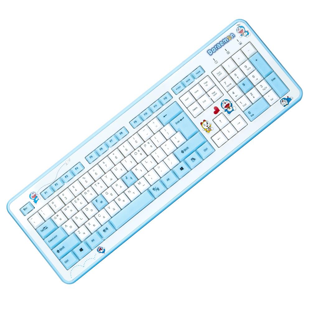 레토 도라에몽 슬림 키보드 유광코팅, 화이트 + 블루, DK-603