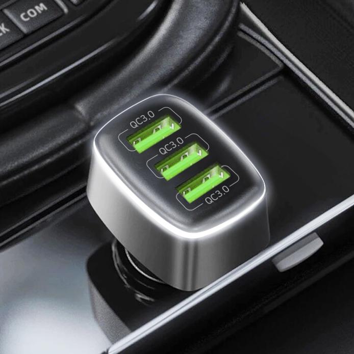 홈플래닛 퀄컴QC3.0 차량용 시거잭 고속충전기, 메탈실버, FP6601Q-3(3포트 54W)