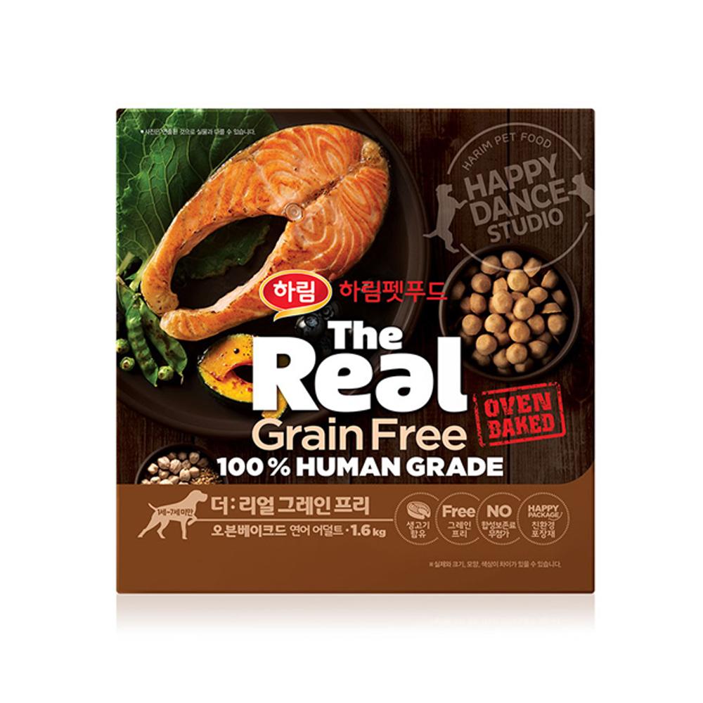 하림 펫푸드 어덜트 소고기 더리얼 그레인프리 오븐베이크드 강아지 사료, 연어, 1.6kg