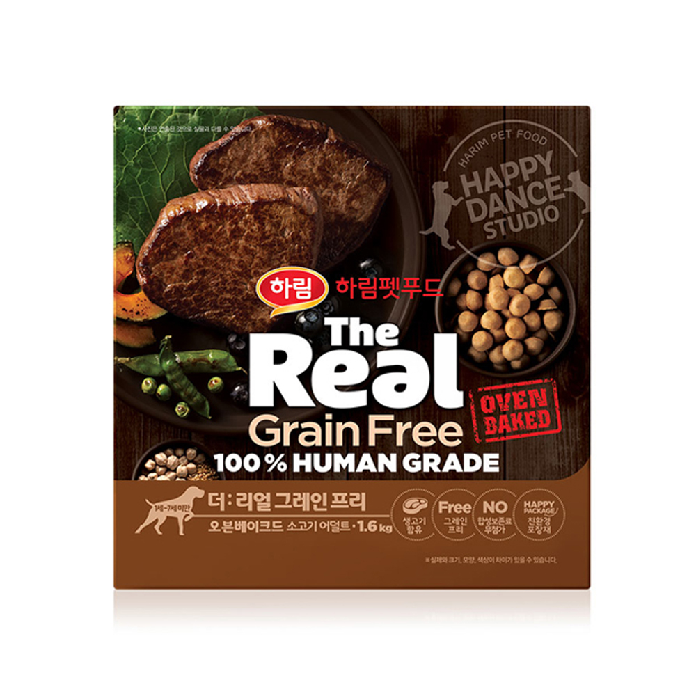 하림펫푸드 더리얼 그레인프리 오븐베이크드 어덜트 강아지사료, 소, 1.6kg