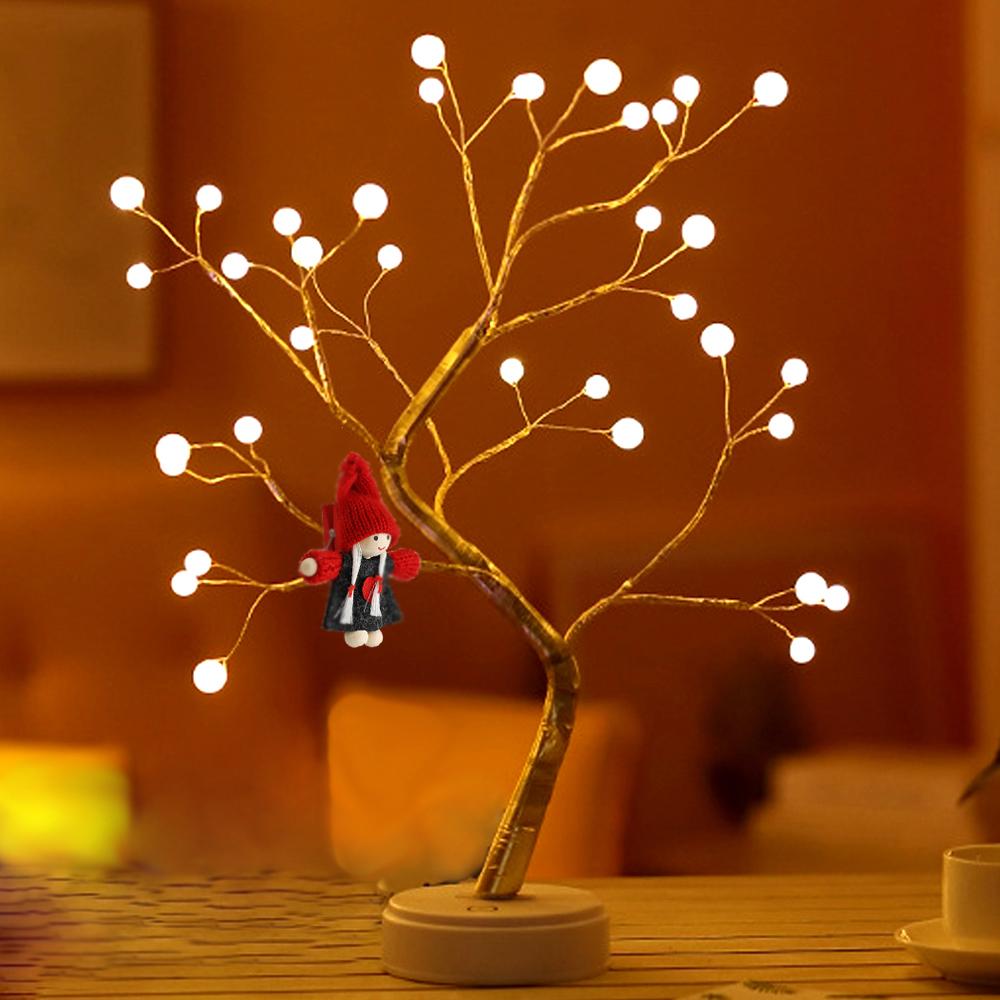 행복한마을 크리스마스 LED펄진주 네온트리 + 미니돌 인형, 혼합 색상