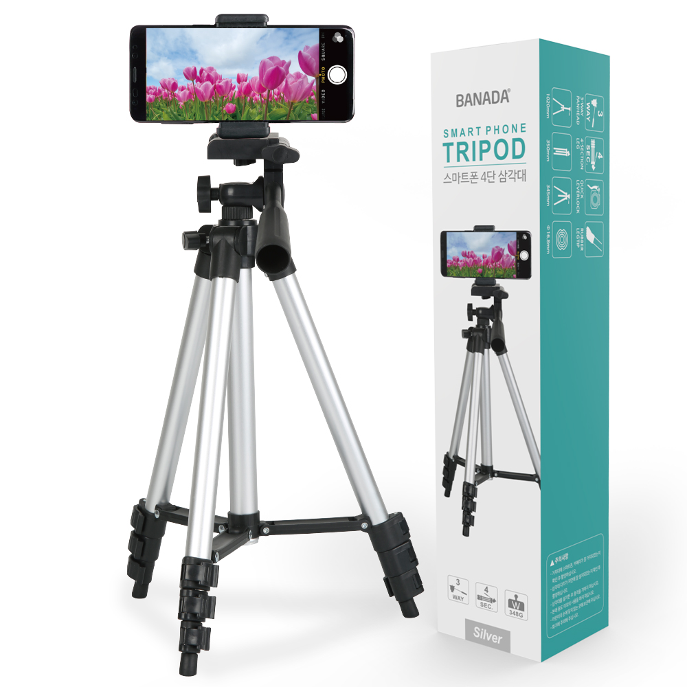 바나다 스마트폰 4단 삼각대, BND-TP4001(실버)