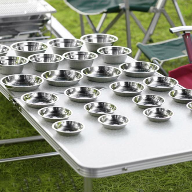 키친아트 캠핑 스텐레스 식기 25P세트, 7종 (그릇 2종, 접시4종, 전용가방)