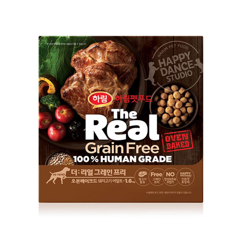 하림펫푸드 더리얼 그레인프리 오븐베이크드 어덜트 강아지사료, 돼지, 1.6kg