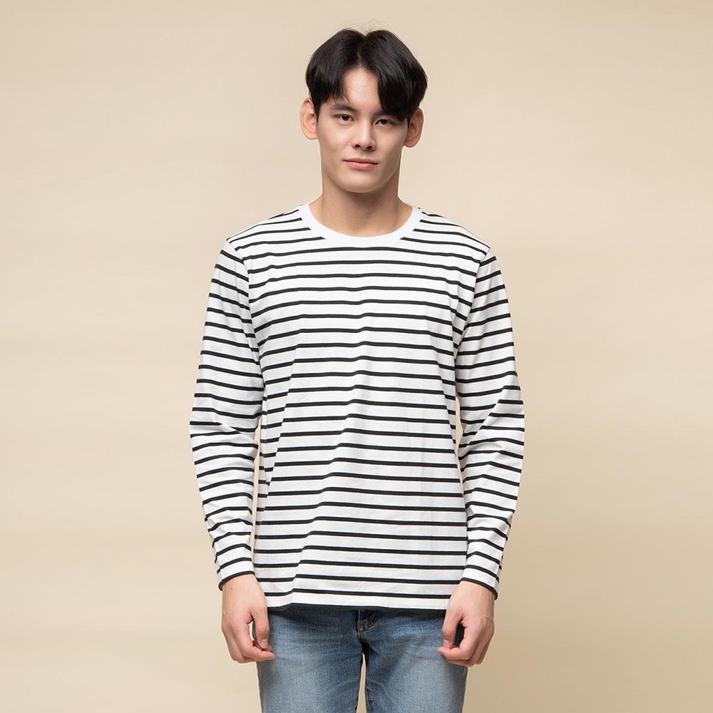 캐럿 남성용 레귤러 핏 긴팔 스트라이프 티셔츠