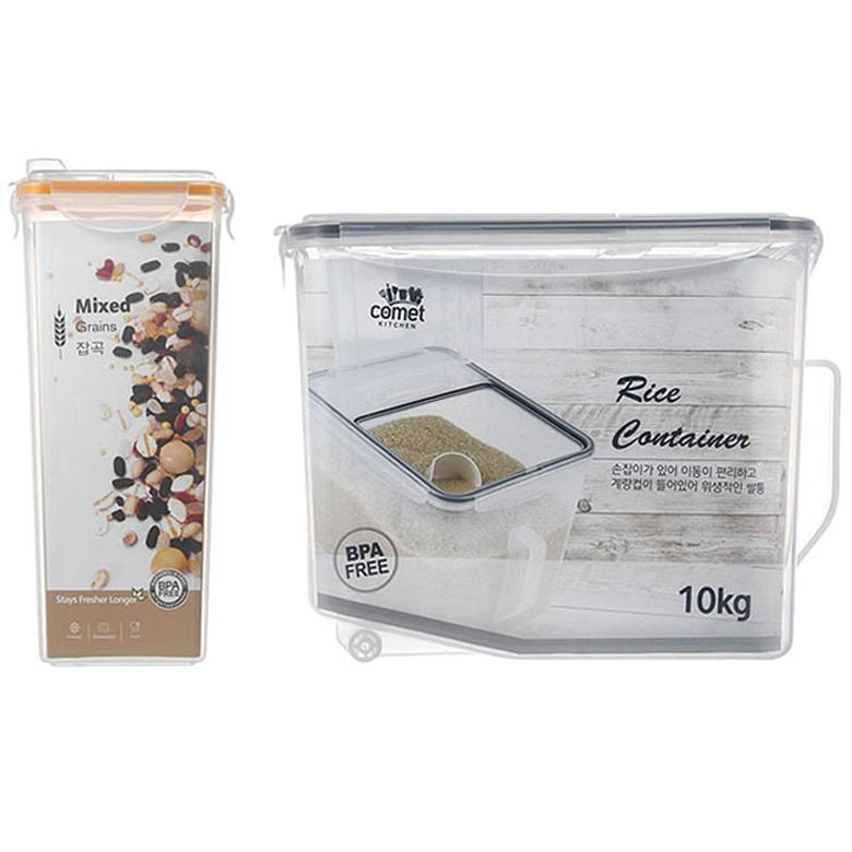 쿠팡 브랜드 - 코멧 키친 쌀통 10kg + 잡곡 보관용기 2000ml