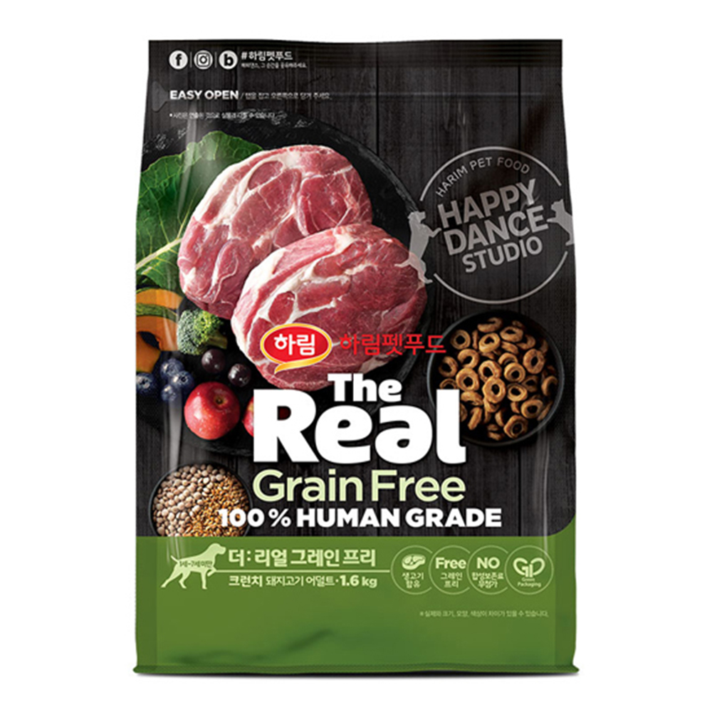 하림펫푸드 더리얼 그레인프리 크런치 어덜트 강아지사료, 돼지, 1.6kg